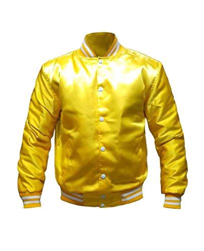 Original American Varsity Letterman College Baseball Bomber Satin Men Jackets Yellow