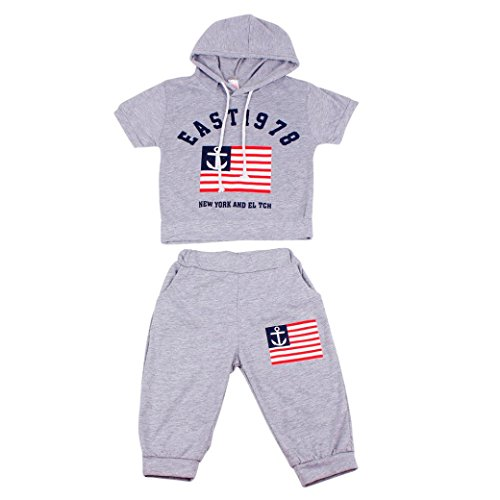 PHOTNO 1Set tracksuits for Kid Baby Boys Summer Short sleeve hooded t-shirt boys+ Long pants (2-7Y) (110 (4-5Y), Gray)
