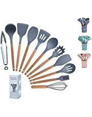 Wisdom Baby Kitchen Utensil Set & Silicone Cooking Utensils Set -11 Pcs Cooking Spatula Utensils,Heat Resistant Tools with Wooden Handle,Non-Stick Heat Resistant Cookware,Cooking Tools Turner