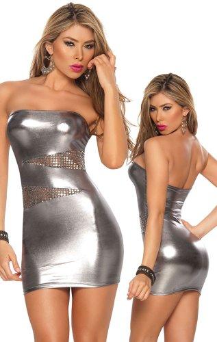 Sexy Gun Metal Silver Bandeau Dress
