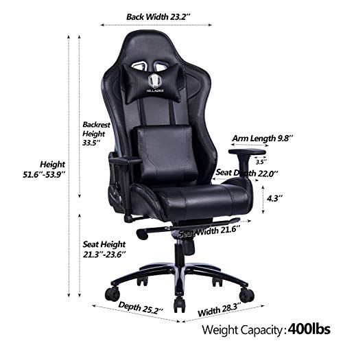 KILLABEE Big and Tall Gaming Chair with Metal Base - Ergonomic Leather Racing Computer Chair High-Back Office Desk Chair with Adjustable Memory Foam Lumbar Support and Headrest, Black by KILLABEE (Image #4)