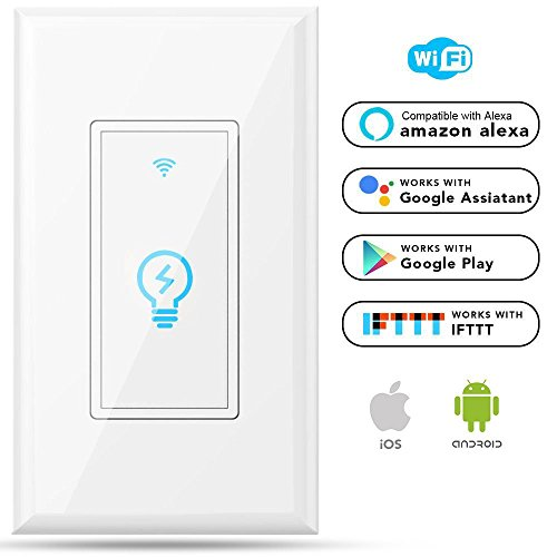 Megadream Alexa WiFi Light Switch, Smart On/Off Wall Switch, Timing, Wireless Voice App Remote Control, 15A Overload Protection, Compatible Amazon Alexa & Google Home & IFTTT No Hub Required One Pole (15a Remote)