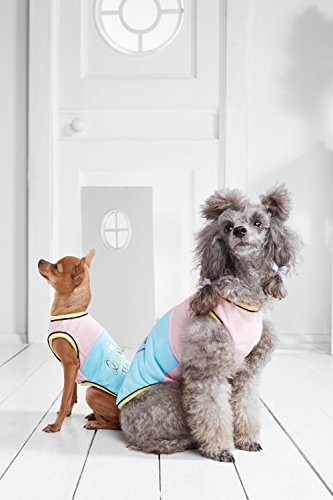 """Small Dog Shirt Tank Top Two Tone Sleeveless Tshirt Dogs Cotton Summer Clothes (Small Plus: 14"""" / 9-18 lbs, Blue, Pink)"""
