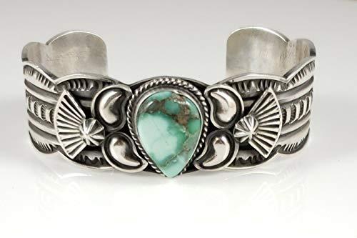 - Navajo Sterling Silver Rare Gem Grade Damele Cuff Bracelet Signed Andy Cadman