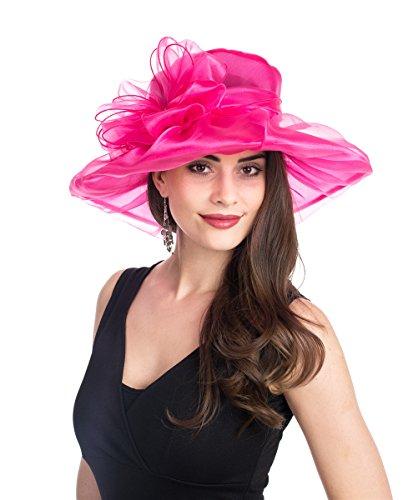 acb227a645c0e SAFERIN Women s Kentucky Derby Sun Hat Church Cocktail Party Wedding Dress  Organza Hat Hot Pink Bowknot