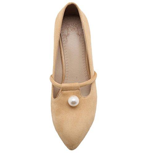 AIYOUMEI Damen Wildleder Spitz Pumps mit 6cm Absatz und Perlen Blockabsatz Bequem Sommer Schuhe Aprikose
