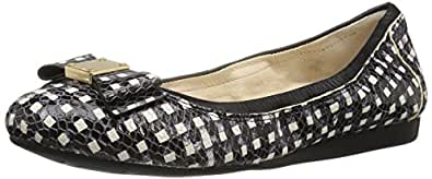 Cole Haan Women's Tali Bow Ballet Flat, Black/White Grid Leather, 5 B US