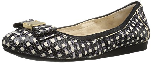 Cole Haan Womens Tali Bow Ballet Flat Black/White Grid Leather