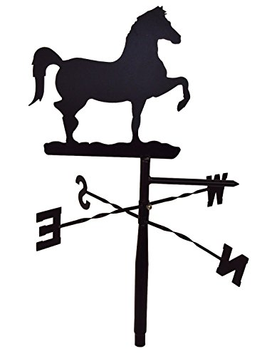 Weathervane Rooftop Black (Prancing Horse Weather Vane Topper - Black Metal - For Rooftop, Yard Pole, Barn)