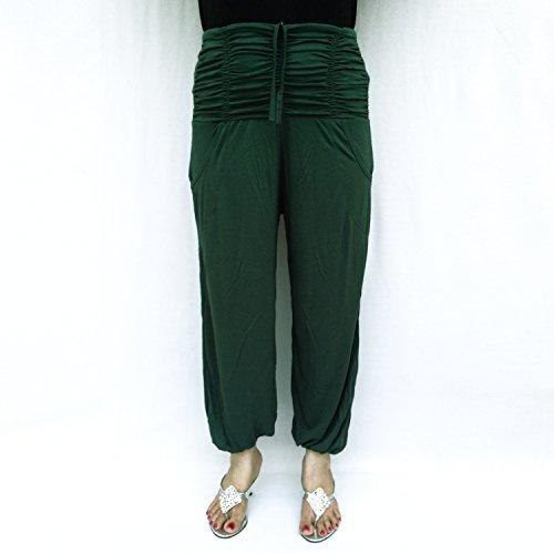 Cuerda ajustable 2 bolsillos delanteros Reúna Volver Smocked cintura medias de algodón Pantalón