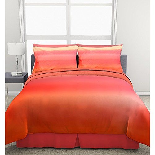 3 Piece Red Pink Orange Yellow Ombre Theme Comforter Full Set, Beautiful Multi Color Tie Dye Bedding, Vibrant Bright Chic Tiedye Sunset Water Paint Sunny Themed Pattern, Tangerine Coral (Sunset Quilt Pattern)