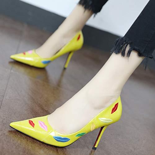 Temperamento tacón A tacón Aguja bajo de YMFIE Moda Zapatos de de de Sexy Alto Bordado qw1C1Eva