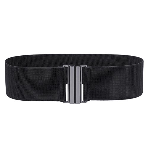 "Syuer Womens Wide Elastic Waist Belt Cinch Belt Trimmer Stretch Waistband (L-XL (30""-36""), Black (Black Buckle))"