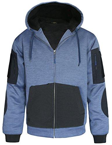 Hard 2 Zippée Sherpa De Capuche Land Hommes Bleu À D'hiver Molleton Pour Veste Travail Doublée En TnST0r