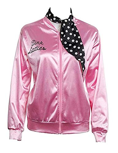 CAIYING Ladies 50S Grease T Bird Danny Pink Satin Jacket Halloween Cosplay Costume with Polka Dot Scarf (Small, Pink) -