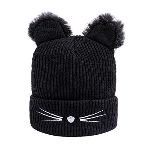 FRCOLT Winter Women's Cute Kawaii Cat Hats Thermal Knitted Wool Hemming Hat(Free Size, - Trucker Snowboard New Hat