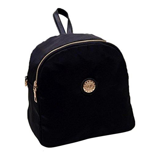 Clode® Las mujeres de moda escuela de bolsa de viaje impermeable impermeable bolso morral de Nylon Negro