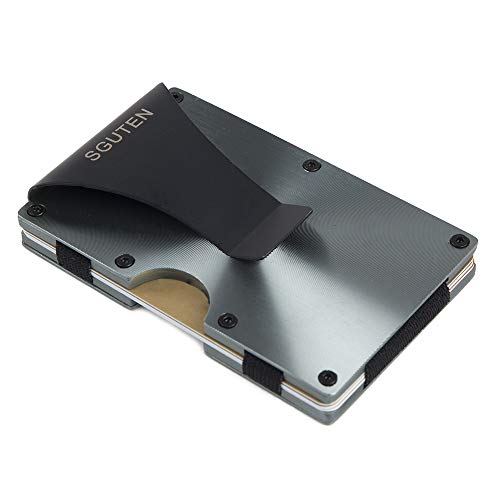 Mens Money Clip Card Holder,SGUTEN RFID Blocking Credit Card Holder Anti Scan Card Case Aluminium Wallets For Men Black Gray ()