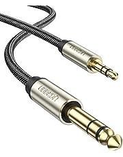 UGREEN Audio Kabel 3.5 mm 1/8 inch naar 6.35 mm 1/4 inch Stereo Nylon Stereo Jack Kabel Compatibel met Elektronische Gitaar Versterker Geluids Systeem HiFi Luidsprekers Mixer Smartphone enz.