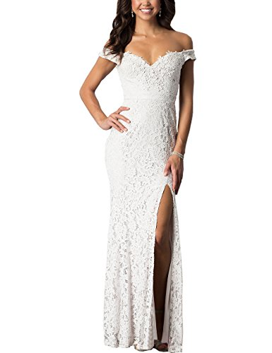 Women's Floral Lace Vintage Cap Sleeve Wedding Maxi Fromal Long Dress (White,20W)