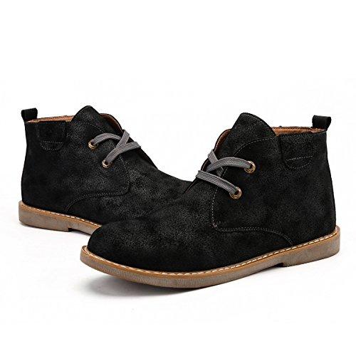 Stringate Stivali da in All'aperto Basse Scarpe Scarpe Boot Caldo fodera Desert cotone uomo Pelle Scarpe Stringate Gracosy Nero da Boots foderato Casuale Invernali Desert cappotto 8wxR74