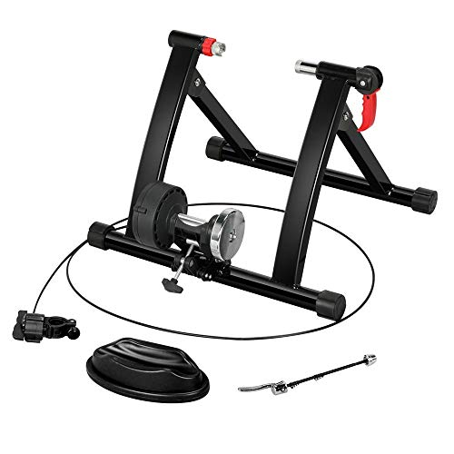 Topeakmart Magnetic Bike Trainer Stand Portable Bicycle Exercise Training Foldable Indoor Cycling Trainer w/Quick Release & Front Wheel Riser Block