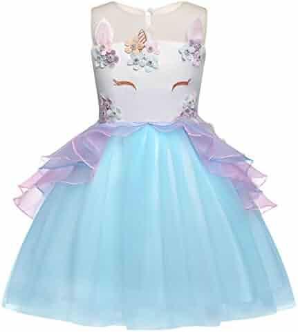 Cotrio Unicorn Costume Dress Pageant Party Dresses Flower Evening Gowns Tutu Dress