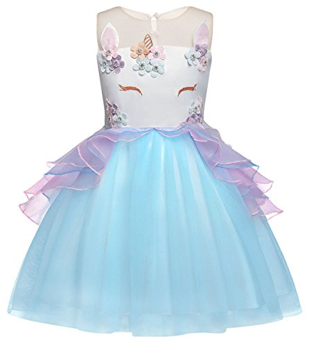 Cotrio Baby Girls Unicorn Costume Dress Pageant Party Dresses Flower Evening Gowns Tutu Dress Halloween Outfit Size 4T (110, 3-4Years, Blue)]()