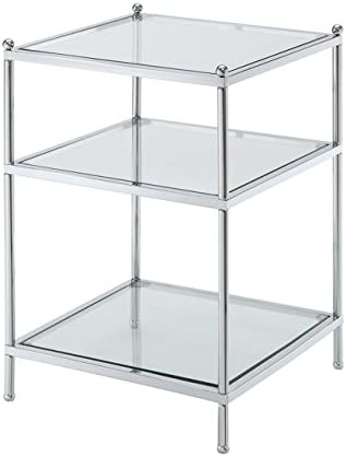 Convenience Concepts Royal Crest Collection End Table, Chrome Glass
