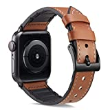 XinywTech Compatible with Apple Watch Band 44mm 42mm,Genuine Leather and TPU Hybrid Sweatproof Replacement Band Strap Compatible iWatch Series 4 44mm Series 3/2/1 42mm Sport and Edition (Brown)