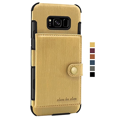 Holder PU Card Galaxy for Wallet Samsung S8 Back Case Protective with Leather Phone Khaki Plus Slim Cover Case S8 Credit nqf8x8gUCw