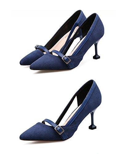 35 Gli Del Highxe E Confortevoli 7cm Blue Pattini I Eleganti Tallone Appuntato Pattino Camoscio Ha Talloni 38 Gatto Alti 8wtwUg