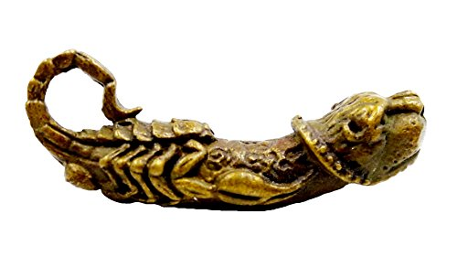Unique Tiger face scorpion paladkhik takrud brass amulet pendants holy life protection with necklace