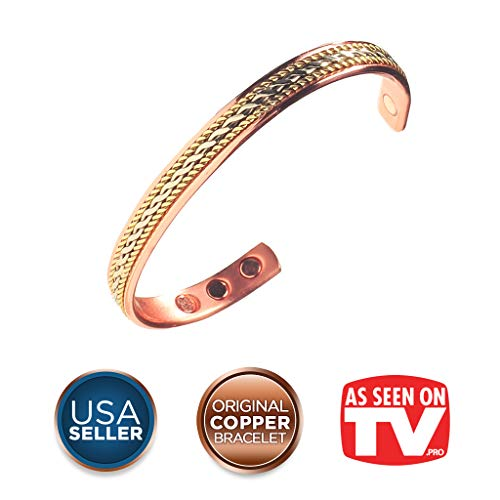 Earth Therapy, The Original Pure Copper Magnetic Healing Bracelet for Arthritis, Carpal Tunnel, and Joint Pain Relief - Rope Inlay Style - Adjustable - for Women