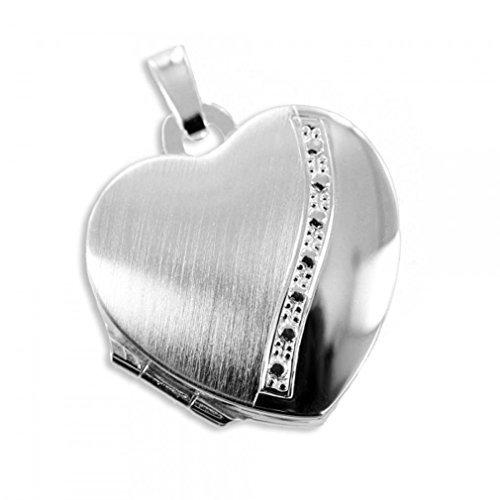 Herz Medaillon925 Silberzum öffnen für Bildereinlage/ 2 Foto HausderHerzen.de ke-6667-1