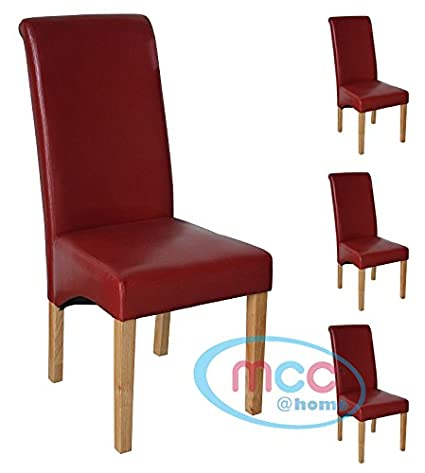 Astounding Mcc Direct Set Of 4 Faux Leather Dining Chairs Roll Top Scroll High Back For Home Commercial Restaurants Brown Black Red Cream D Red 4 Evergreenethics Interior Chair Design Evergreenethicsorg