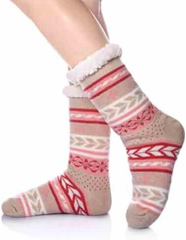 7bdbe610d DoSmart Womens Winter Thermal Snowflake Fleece Lining Fuzzy Warm Indoor  Home Socks