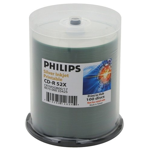 Philips 600 52x CD-R 80min 700MB Silver Inkjet Hub in Cake Box