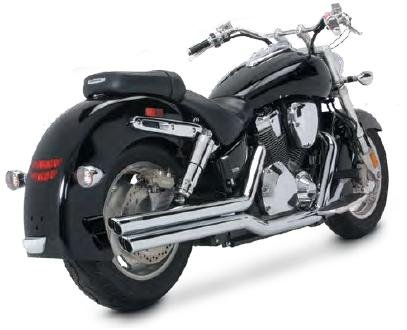04-08 HONDA VTX1300C: Vance & Hines Big Shots Staggered Exhaust (Chrome)