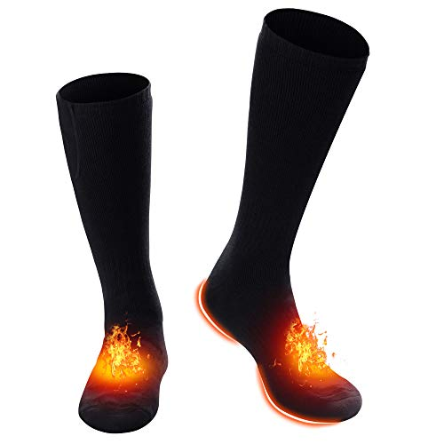 Battery Heated Socks Stockings Unisex Ski Socks Electric Rechargeable Hiking&Camping Equipment, Battery Powered Thermal Socks Kit Warm Winter Crew for Cold Feet,Thermo Thick Cotton Hosiery Heated Sox