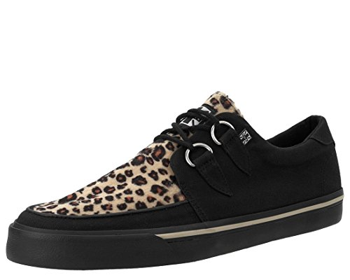 T.U.K. Shoes A9181 Unisex-Adult Sneakers, Black & Leopard Vegan VLK Sneaker - US: Mens 8/Women 10 Tuk Creeper Shoes