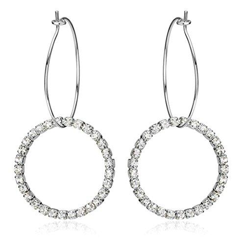 Adisaer Drop Earrings for Women Simple Big Round CZ Earrings Hoop for Bridal Women Earrings Gold Plated