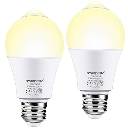 Motion Sensor Light Bulb, Emotionlite Motion Activated LED Bulbs, Warm White, 60W Equivalent A19 Bulb, E26 Base, Auto On/Off, Porch, Stairs, Garage, Basement, Hallway,8W, 600LM, 2 Pack