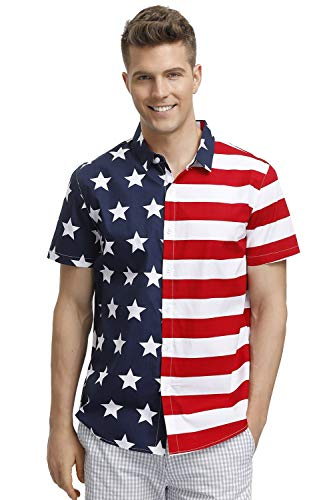 Memorial Day Shirt for Mens American Flag Button Down Shirt USA Beach Shirt Polo Shirt 2XL