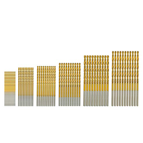amoolo Drill Bit Set (60 pcs), Titanium Coated Twist Drill Bits for Wood, Soft Metal, Plastic, Aluminum Alloys, - 64 Drill Center Ground Inch