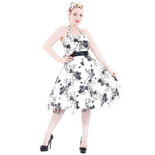 Kleid Geblümt amp; Hearts Roses Blanc Blanc Damen ztI81