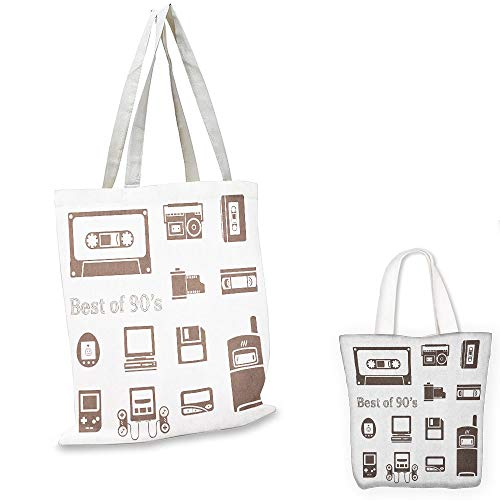 shopping tote 90s Gadget of 90s Icons Pattern With Desktop Computer Video Game Joystick Nostalgia Theme Print Brown tote bag with pockets