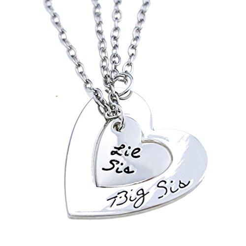 O.RIYA Big Sis Lil Sis Necklaces Set for 2 ,2pcs/set Silver Tone Big Sis Lil Sis Little Sister Bff Best Friends Forever Detachable Heart Broken Heart Necklace Set