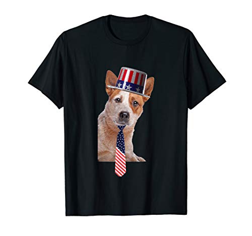 (Australian Cattle Dog 4th Of July Dog In Top Hat and Tie T-Shirt)