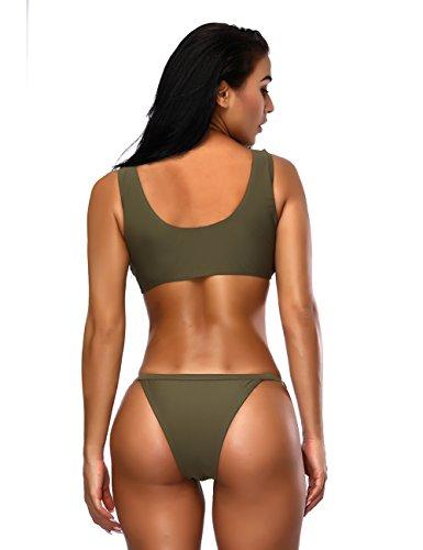 Femme Bain 3 Tankini 2 Bikini Olive Maillot Taille Ensemble Brésilien Set Feelingirl Up Haute Pièces Push De Sexy dqfRwdt